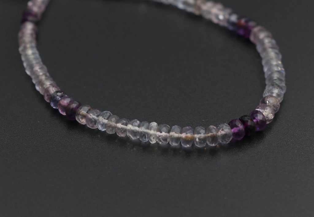 Fluorite Faceted Roundel Beads - 3.5 mm to 5 mm - Fluorite Roundel - Gem Quality , 8 Inch/ 20 Cm Full Strand, Price Per Strand - National Facets, Gemstone Manufacturer, Natural Gemstones, Gemstone Beads