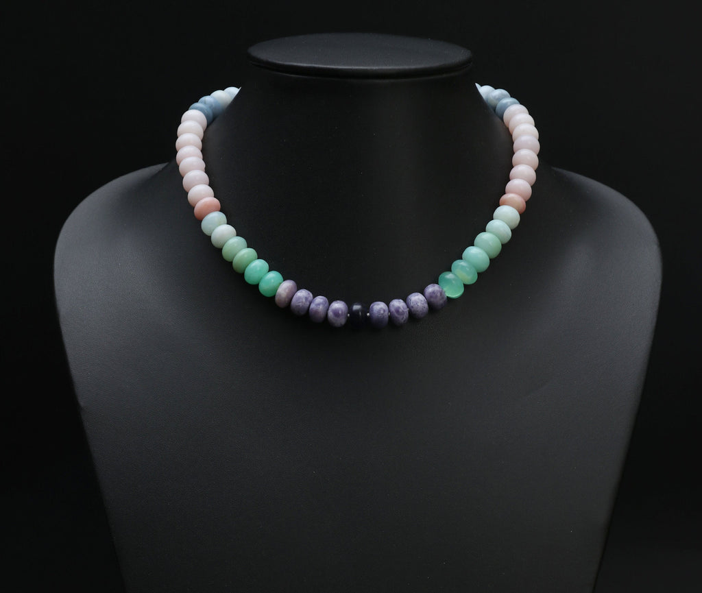 Opals from Around the World / Multi Opal Beaded Necklace/ Natural Opal Gemstone / Blue Opal / Green Opal / Pink Opal / Purple Opal / 16 Inch - National Facets, Gemstone Manufacturer, Natural Gemstones, Gemstone Beads