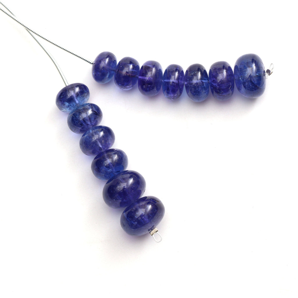 Natural Tanzanite Smooth Rondelle Beads | 10 mm to 13 mm | 2 Inch Full Strand | Tanzanite Rondelle Beads | Pair ( 2 Pieces ) - National Facets, Gemstone Manufacturer, Natural Gemstones, Gemstone Beads