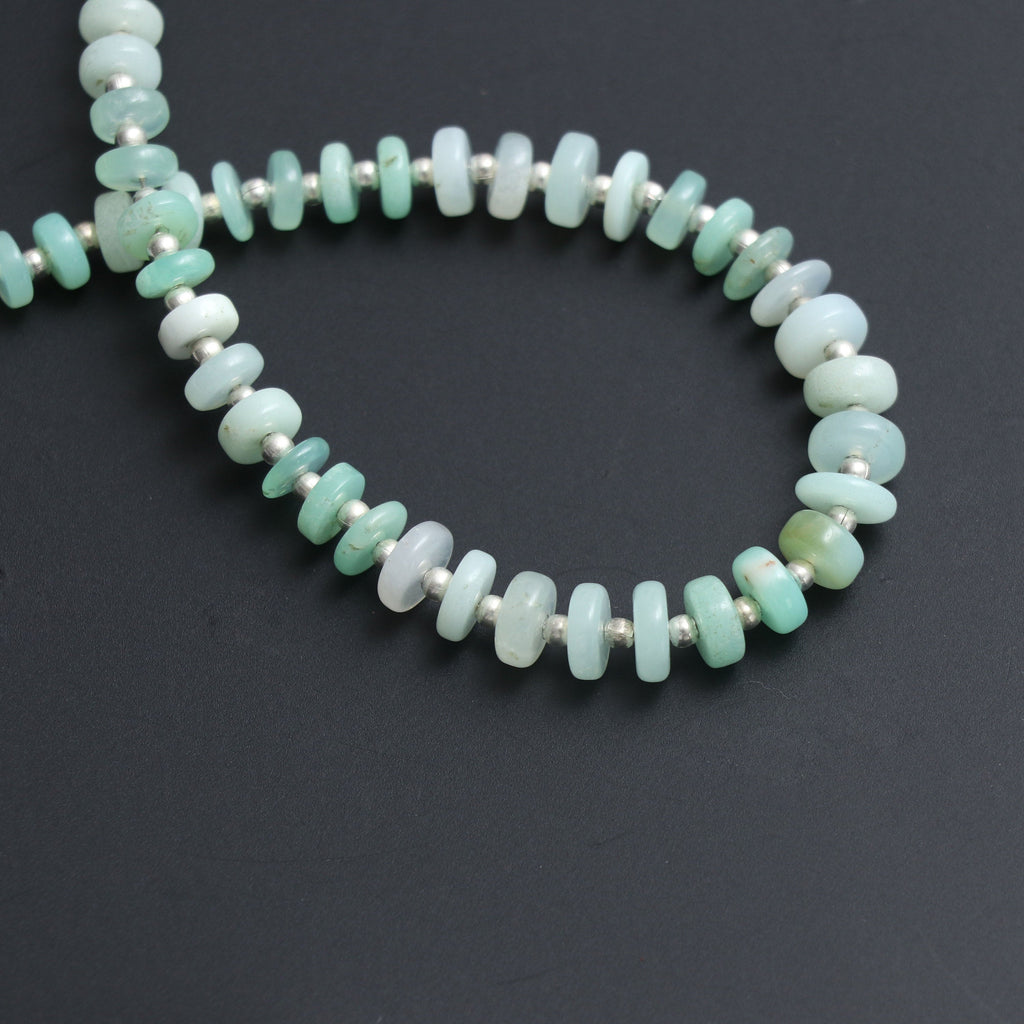 Green Opal Smooth Tyre Beads, Opal Smooth Tyre, Opal Gemstone, Opal Roundel Tyre - 5.5 mm to 7 mm - Gem Quality, 8 Inch, Price Per Strand - National Facets, Gemstone Manufacturer, Natural Gemstones, Gemstone Beads