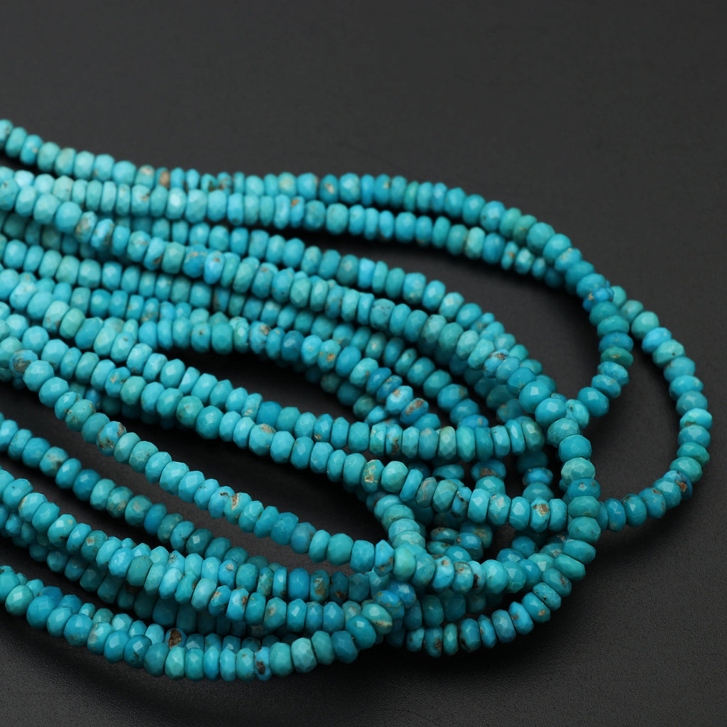 Turquoise Faceted Roundel Beads, 4 mm, Turquoise Roundel Beads - Gem Quality , 18 Inch/ 46 Cm Full Strand, Price Per Strand - National Facets, Gemstone Manufacturer, Natural Gemstones, Gemstone Beads