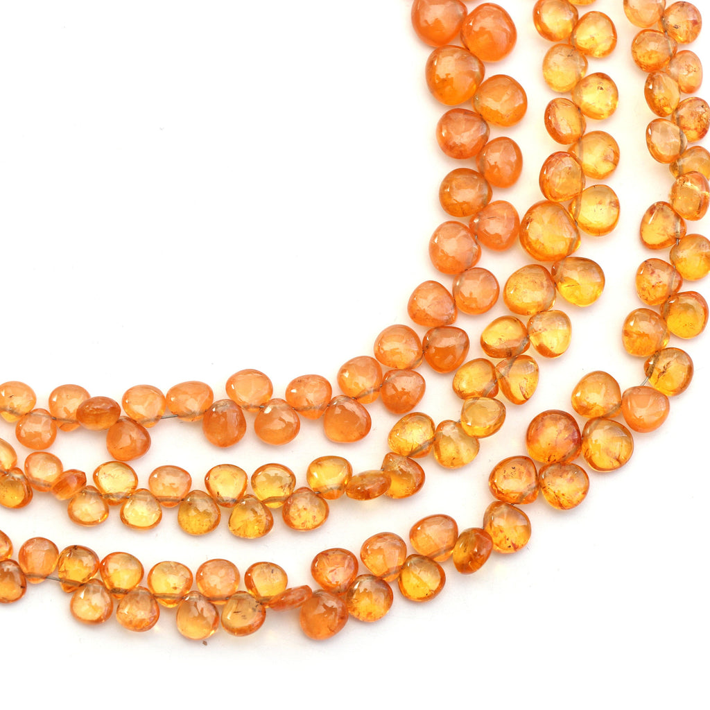 Spessartite Smooth Heart Beads- 4.5mm to 7.5mm Spessartite Heart Beads - Gem Quality, 8 Inch/16 Inch Full Strand, Price Per Strand - National Facets, Gemstone Manufacturer, Natural Gemstones, Gemstone Beads