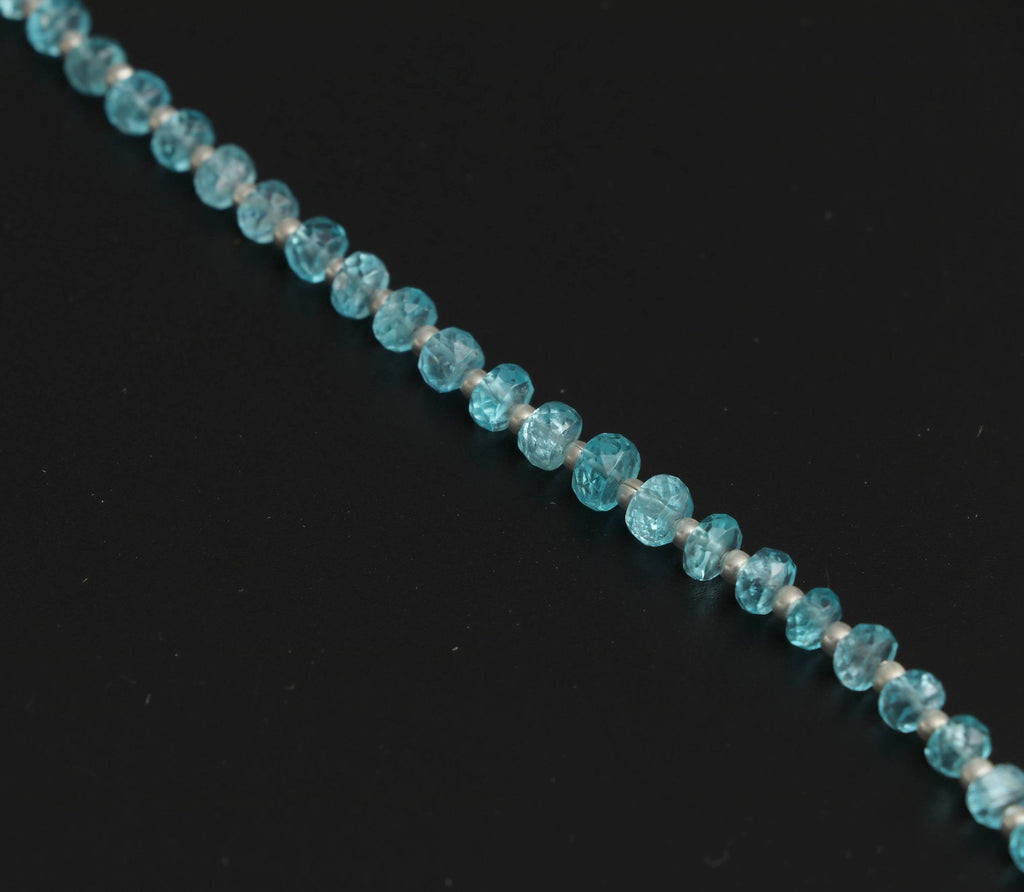 Sky Apatite Faceted Beads With Metal Spacer Ball- 4 mm to 5 mm - Sky Apatite Beads -Gem Quality, 8 Inch/ 20 Cm Full Strand, Price Per Strand - National Facets, Gemstone Manufacturer, Natural Gemstones, Gemstone Beads