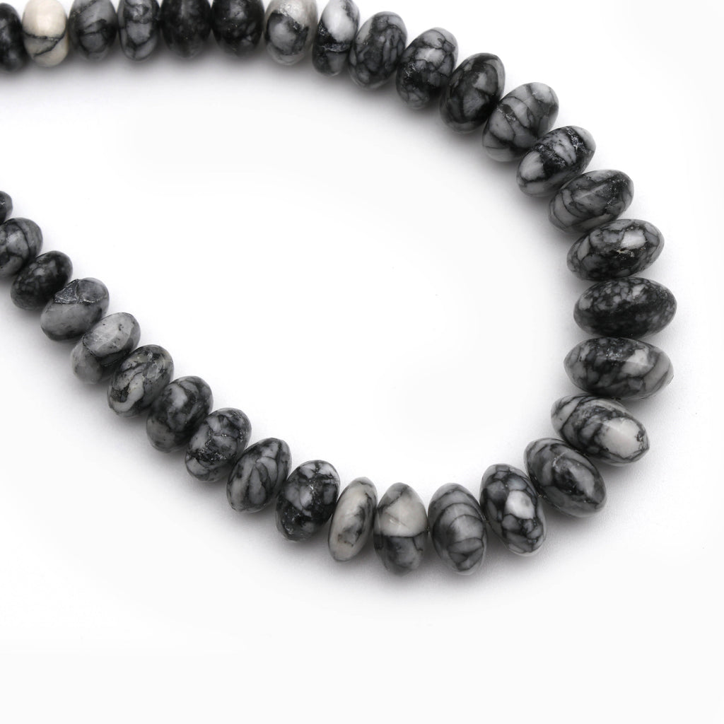 Pinolith Smooth Roundel Beads - 5 mm to 10 mm - Pinolith Smooth - Gem Quality , 8 Inch/ 20 Cm Full Strand, Price Per Strand - National Facets, Gemstone Manufacturer, Natural Gemstones, Gemstone Beads