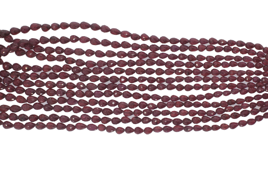 Ruby Glass Filled Straight Drill Drops Faceted, 4x3 to 8x6 mm, 18 Inch Full Strand - National Facets, Gemstone Manufacturer, Natural Gemstones, Gemstone Beads