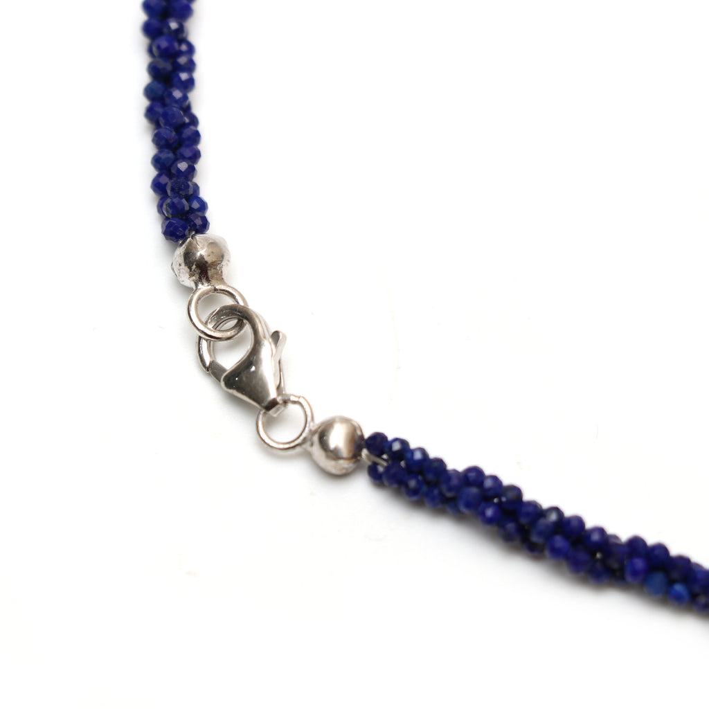 AAA Natural Lapis Faceted Rondelle Necklace | 2 mm | 18 Inch Necklace | 925 Sterling Silver Fish Lock Clasp | Price Per Necklace - National Facets, Gemstone Manufacturer, Natural Gemstones, Gemstone Beads