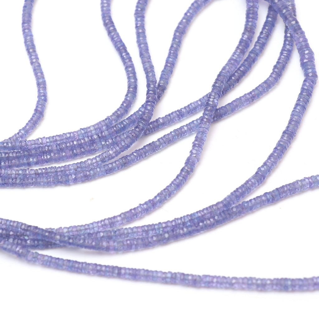 Natural Tanzanite Faceted Tyre Beads | 3.5 mm to 6 mm | Tanzanite Tyre Gemstone | 8 Inch/ 18 Inch Full Strand | Price Per Strand - National Facets, Gemstone Manufacturer, Natural Gemstones, Gemstone Beads