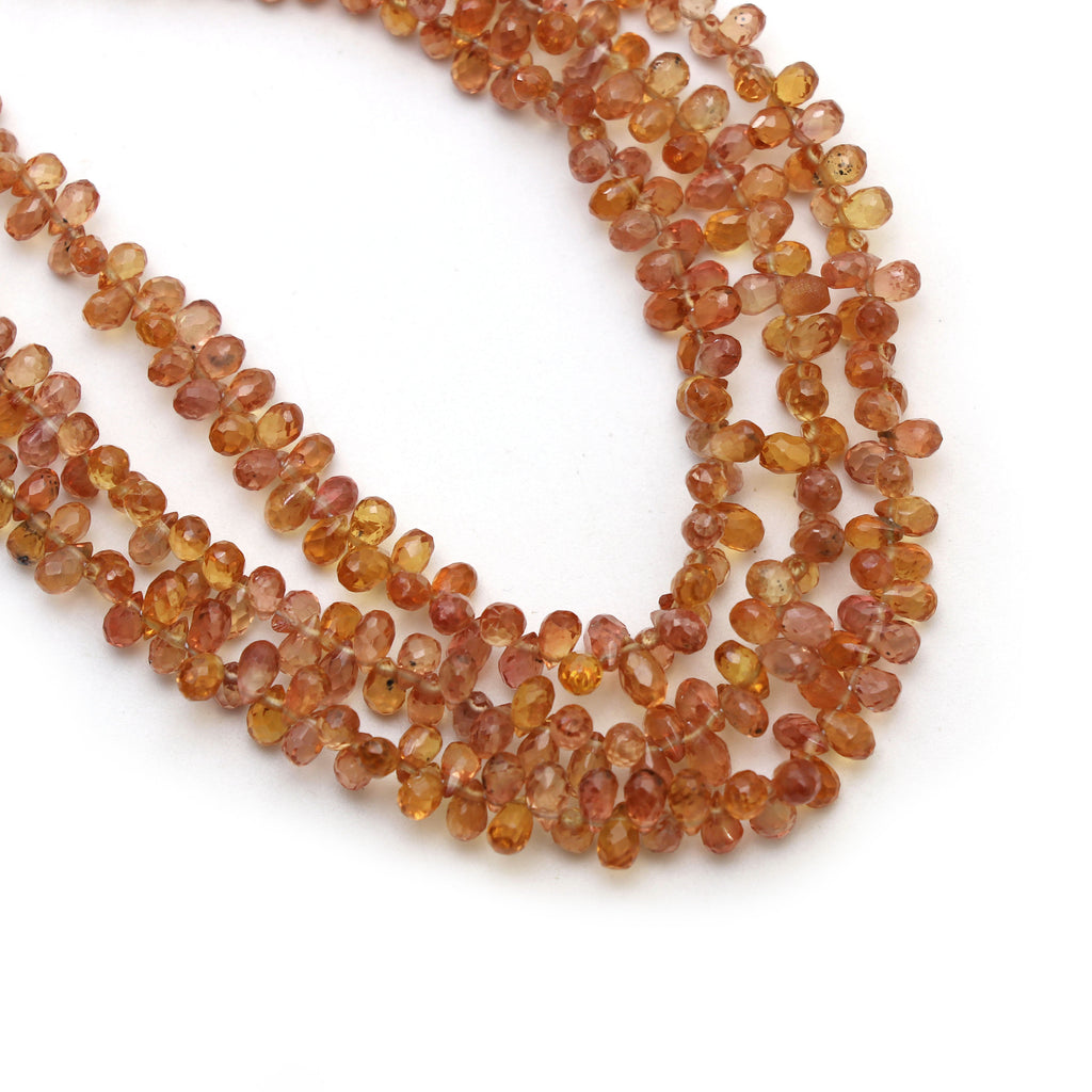 Sapphire Faceted Drop Beads, Orange Sapphire Drop, 2.5x4 mm to 3x5.5 mm, Gem Quality , 8 Inch/16 Inch Full Strand, Price Per Strand - National Facets, Gemstone Manufacturer, Natural Gemstones, Gemstone Beads