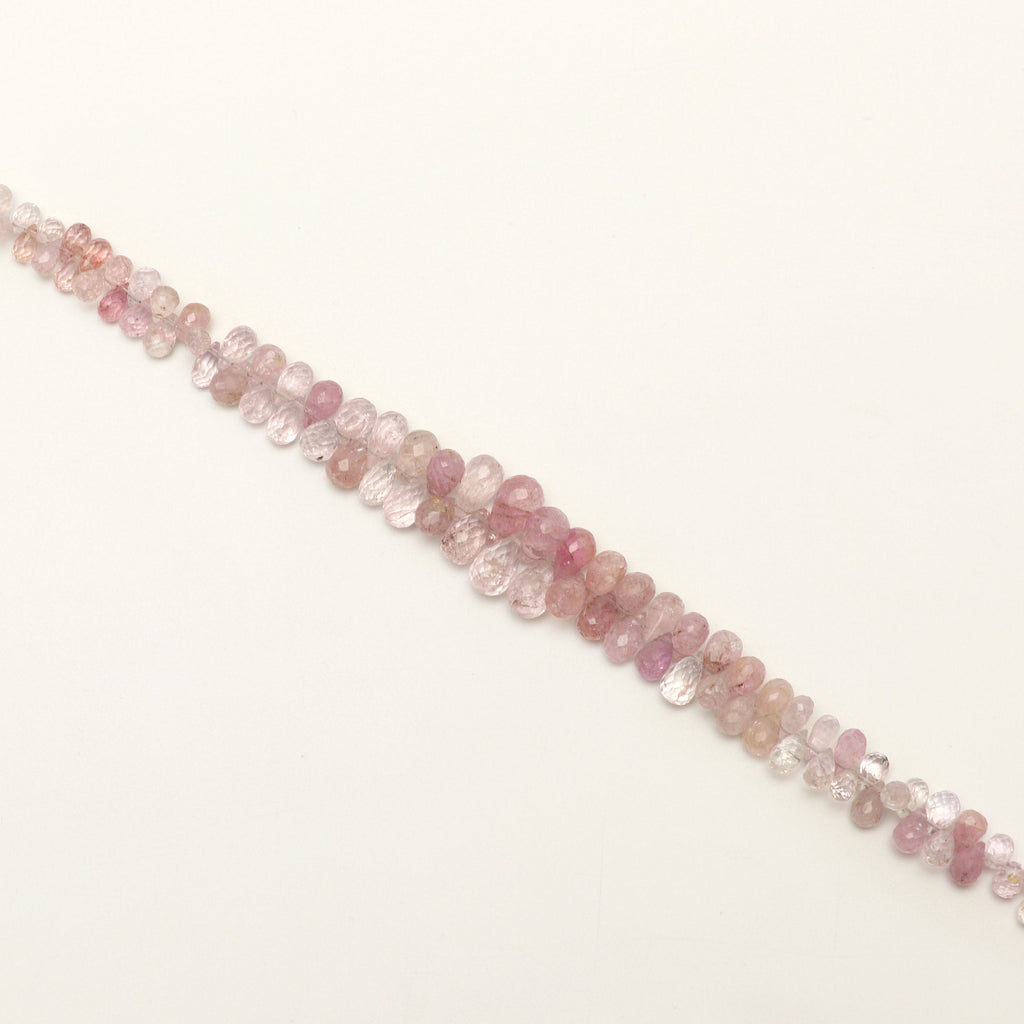 Pink Imperial Topaz Faceted Drops Beads - 4x7 mm to 6.5x10mm - Imperial Topaz Gemstone - Gem Quality , 8 Inch Full Strand, Price Per Strand - National Facets, Gemstone Manufacturer, Natural Gemstones, Gemstone Beads