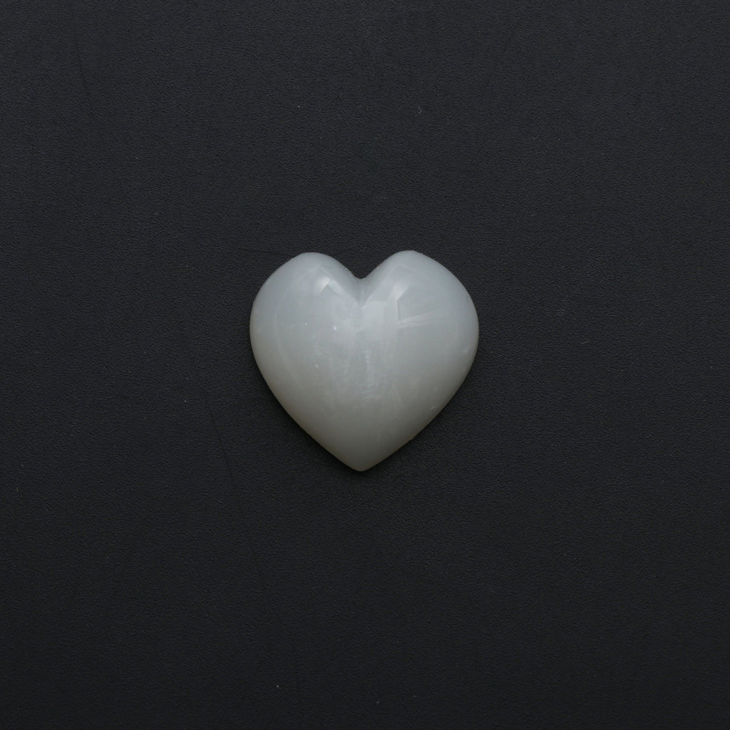White Moonstone Smooth Heart Shape Carving Loose Gemstone- 20x20 mm -Moonstone Heart, Moonstone Cabochon Gemstone, 1 Piece/ Pair (2 Pieces) - National Facets, Gemstone Manufacturer, Natural Gemstones, Gemstone Beads