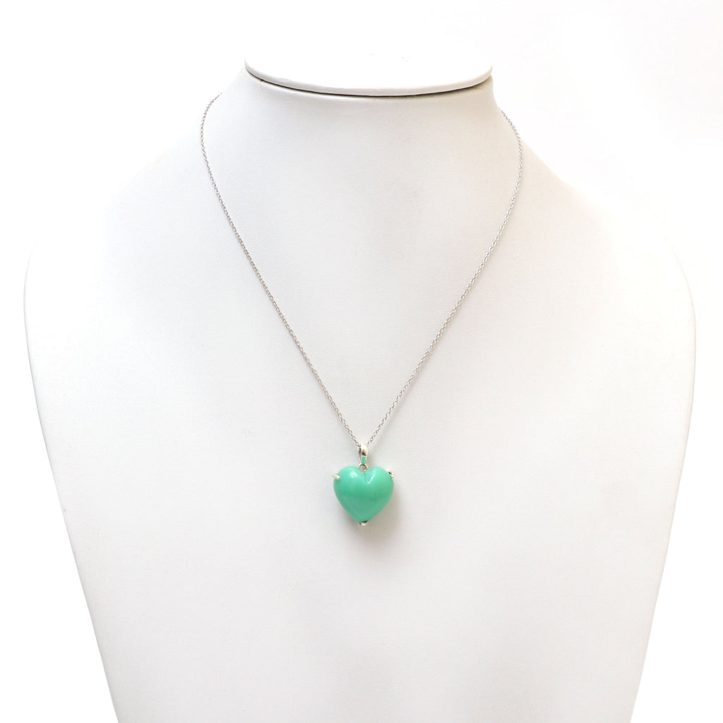 Chrysoprase Smooth Heart Gemstone Prong Pendant | 925 Sterling Silver Plated | Gift For Mom | Price Per Pendant - National Facets, Gemstone Manufacturer, Natural Gemstones, Gemstone Beads