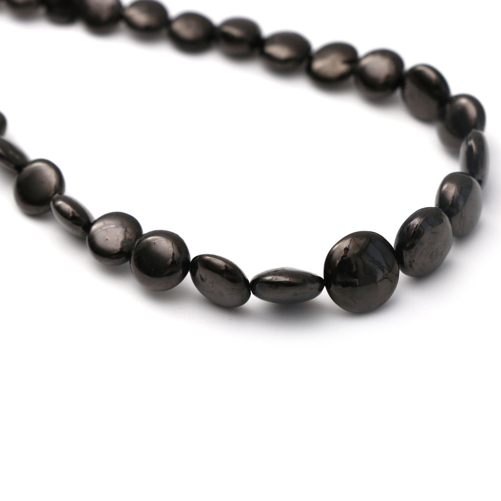 Shungite Smooth Coin Beads, Shungite Coin - 2x4 mm to 4x9 mm - Shungite - Gem Quality , 8 Inch/ 20 Cm Full Strand, Price Per Strand - National Facets, Gemstone Manufacturer, Natural Gemstones, Gemstone Beads