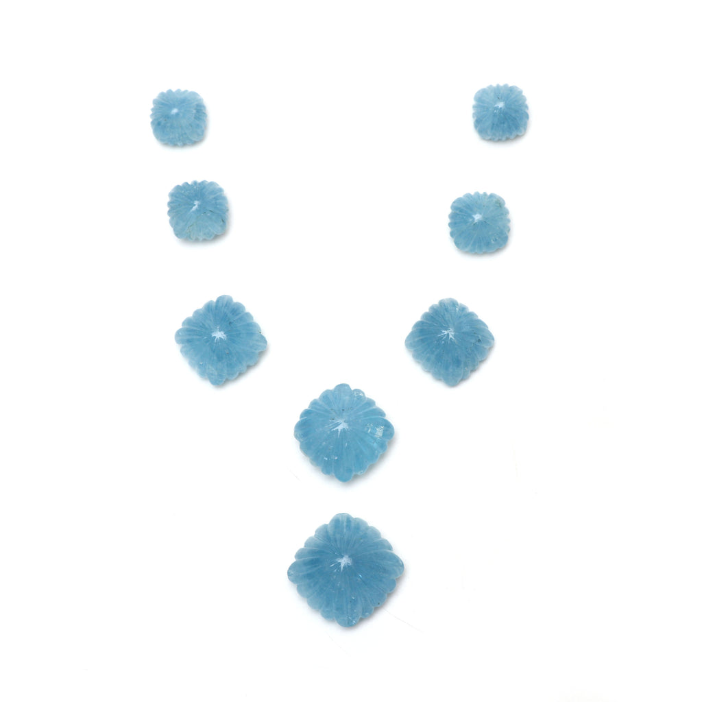 AAA Quality Natural Aquamarine Cushion Carving Loose Gemstone | 13x13 mm to 21x21 mm | Aquamarine Cabochons | Set of 8 Pieces - National Facets, Gemstone Manufacturer, Natural Gemstones, Gemstone Beads
