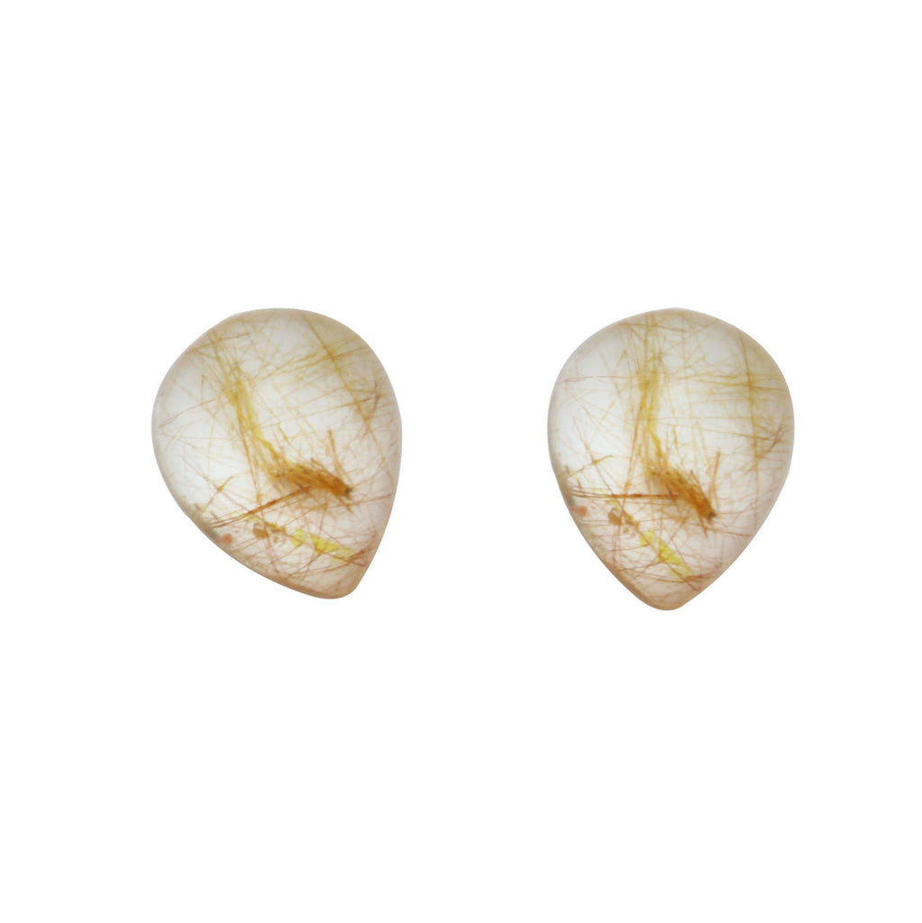 Golden Rutile Smooth Pear Loose Gemstone, 3x5 mm to 10x12 mm, Cabochon Gemstone, AAA Quality, Set of 10 Pieces - National Facets, Gemstone Manufacturer, Natural Gemstones, Gemstone Beads