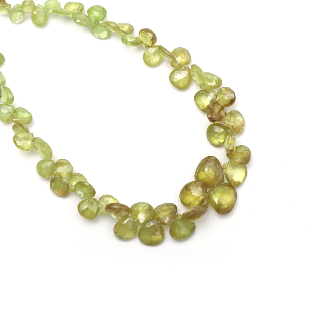 Sphene Faceted Heart Beads, 5x5mm to 9x9mm, Sphene Roundel Beads - Gem Quality , 8 Inch/ 16 Inch/ 18 Inch Full Strand, Price Per Strand - National Facets, Gemstone Manufacturer, Natural Gemstones, Gemstone Beads