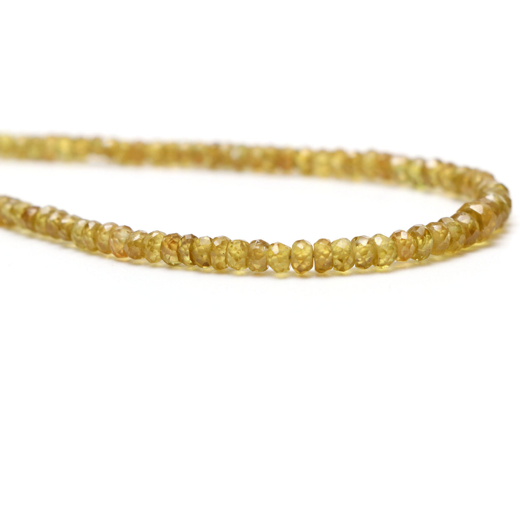 Sphene Faceted Roundel Beads, 2.5mm To 4.5mm , Sphene Roundel Beads - Gem Quality , 18 Inch Full Strand, Price Per Strand - National Facets, Gemstone Manufacturer, Natural Gemstones, Gemstone Beads