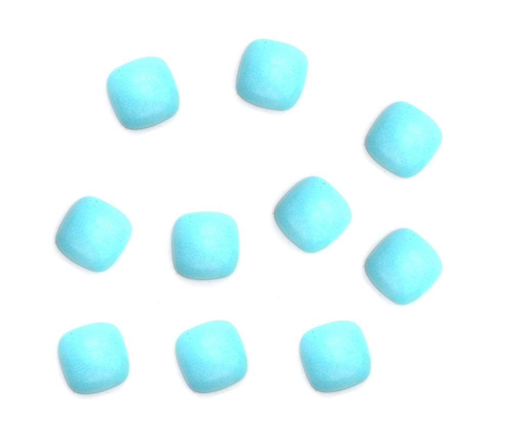 Turquoise Smooth Cushion Loose Gemstone, 3x3 mm to 10x10 mm, Cabochon Gemstone, AA Quality, Set of 10 Pieces - National Facets, Gemstone Manufacturer, Natural Gemstones, Gemstone Beads