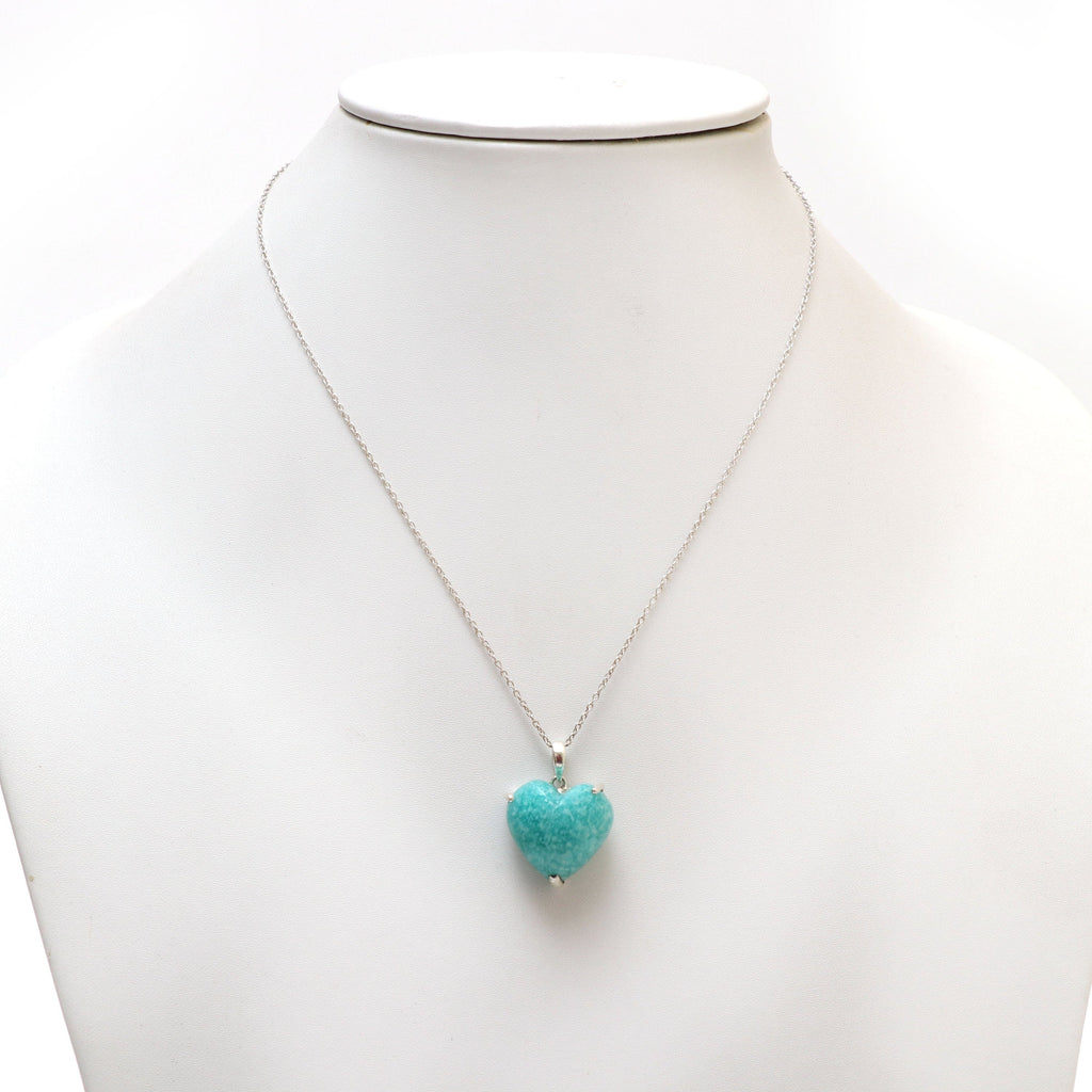 Amazonite Smooth Heart Gemstone Prong Pendant | 925 Sterling Silver Plated | Gift For Mom | Price Per Pendant - National Facets, Gemstone Manufacturer, Natural Gemstones, Gemstone Beads