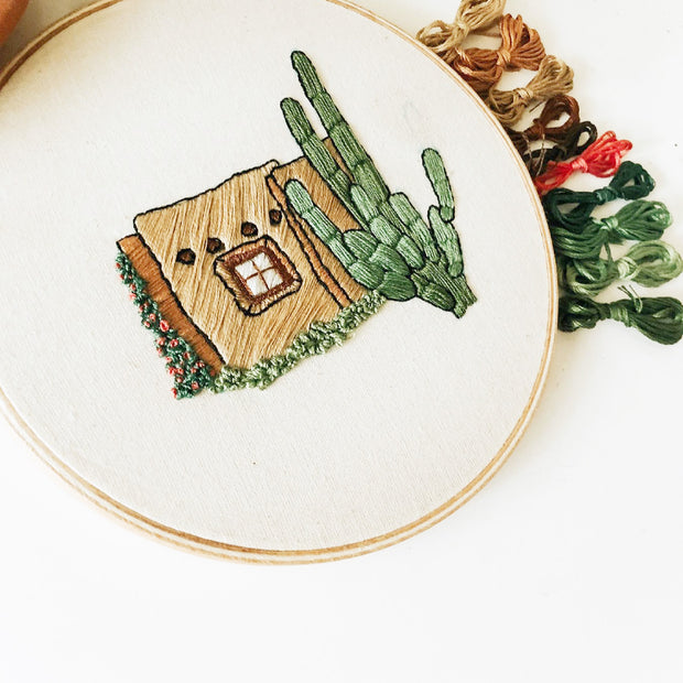Adobe House & Cactus  Embroidery Kit