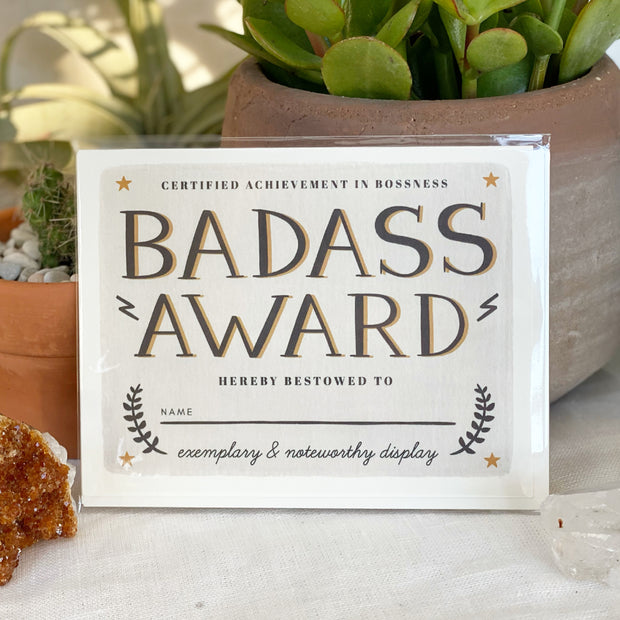 Badass Award Greeting Card