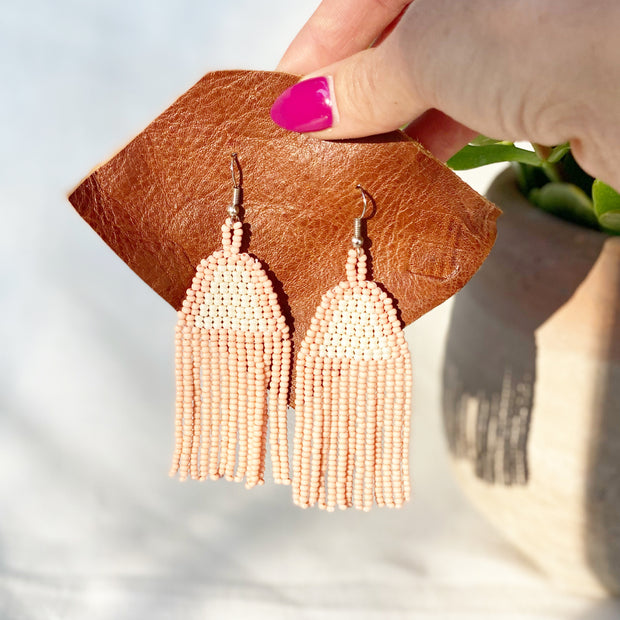 Beaded Fringe Earrings in Campaña
