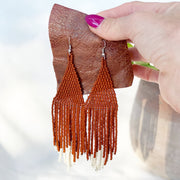 Beaded Fringe Earrings in Canela