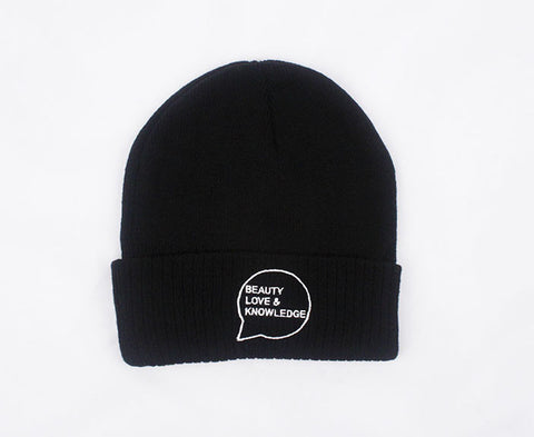 Beauty Love Knowledge BLK Knit Cuff Beanie