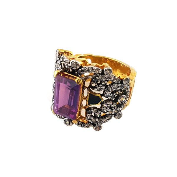Ring in falsa stone with enamel-1007