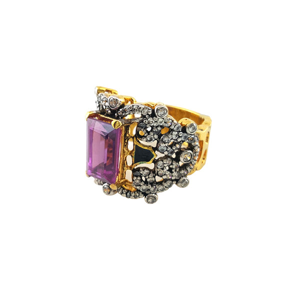 Ring in falsa stone with enamel-0