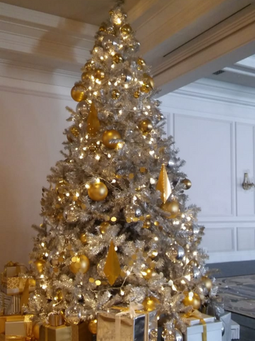 3m Silver Tree with gold decor
