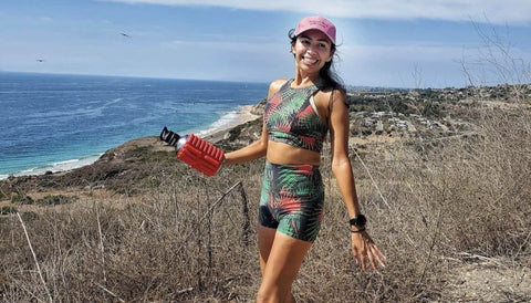 Girl Hiking with her MOBOT - Sustainable Foam Roller Water Bottle