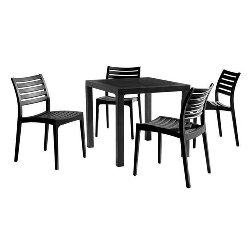 ARES Black Dining Set - Contract Plastic Dining Set - Tiger Furniture