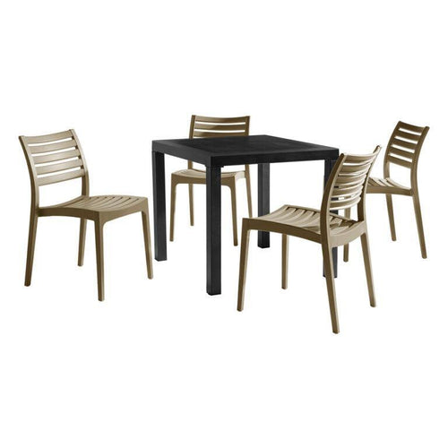 ARES Taupe Dining Set - Contract Plastic Dining Set | Tiger Furniture UK