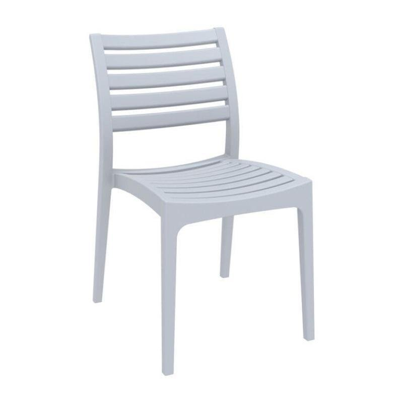 ARES Plastic Commercial Stacking Side Chair - Silver Grey - Tiger Furniture UK