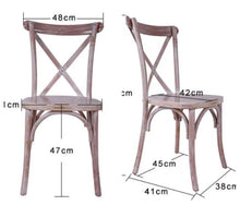 Load image into Gallery viewer, Cross Back Chair - Rustic Oak - Dimensions 2