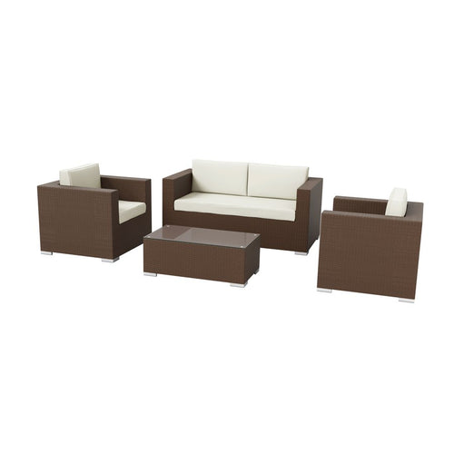 Brown Rattan Sofa Set - Hampton