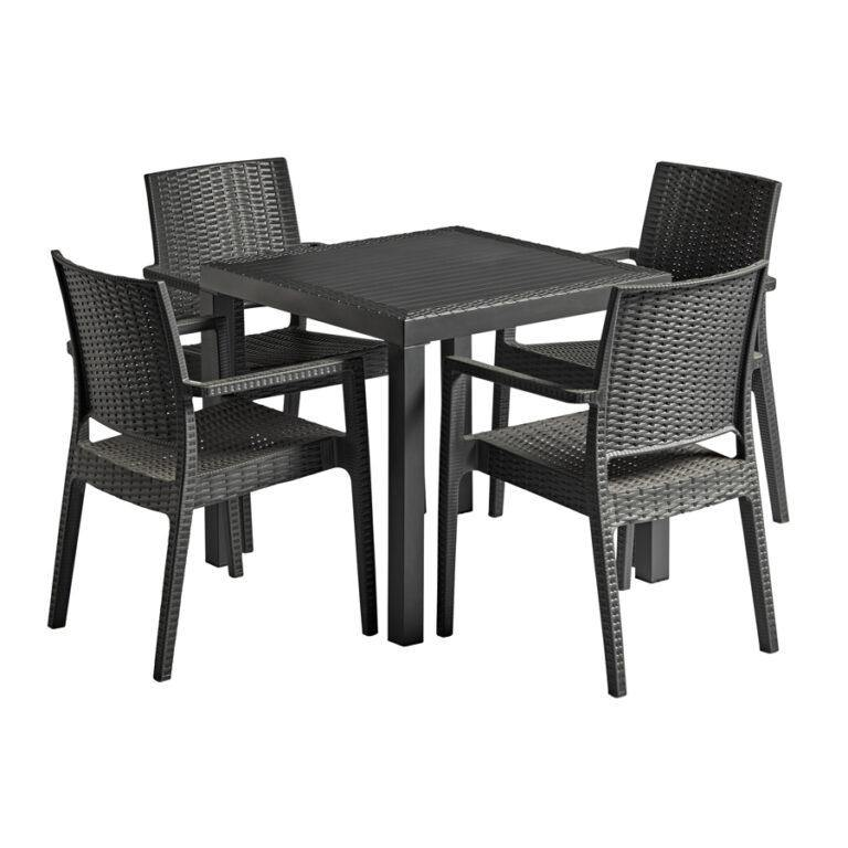IBIZA Rattan Dining Set -Dark Grey | Tiger Furniture UK