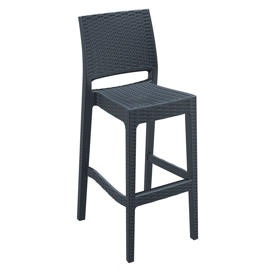 Rattan Wicker Bar Stool - JAMAICA - Dark Grey