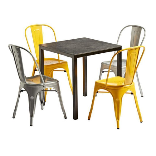 MARCEL Dining Set - Industrial Style Dining Set | Yellow/Grey | Tiger Furniture UK