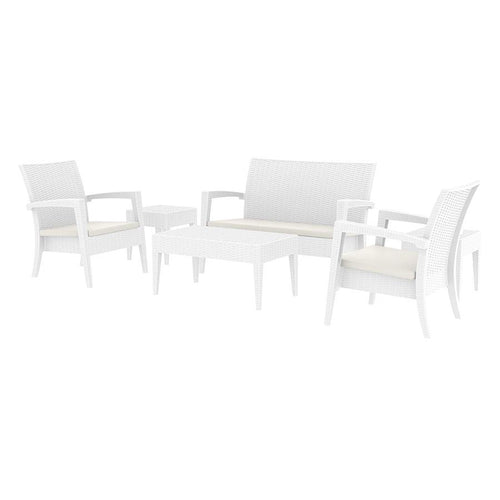 White Rattan Commercial Lounge Set | Tiger Furniture UK