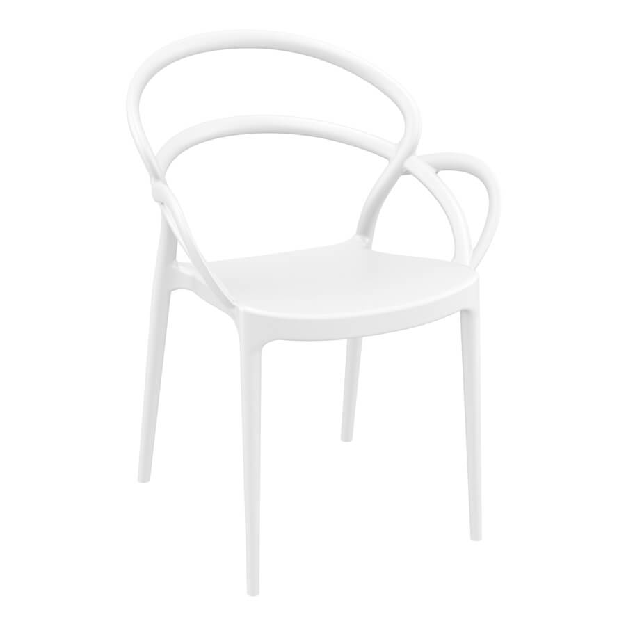 MILA Arm Chair – Stylish stacking arm chair – Contract use - White