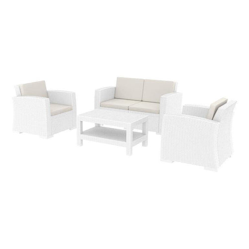 MONACO White Outdoor Rattan Lounge Set | Tiger Furniture UK