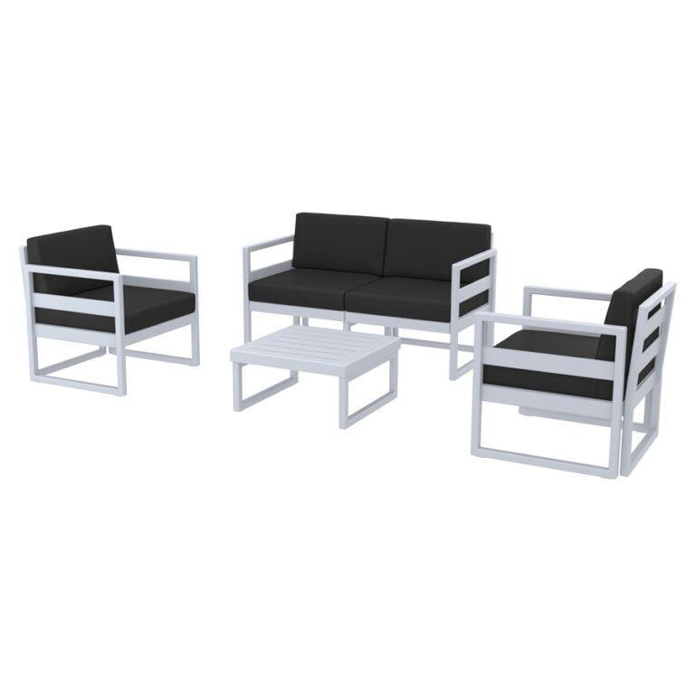 MYKONOS Commercial Lounge Set – Silver Grey – With Black Cushions - Tiger Furniture