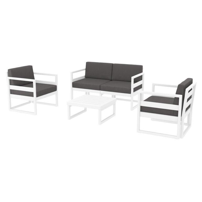 MYKONOS Commercial Lounge Set – White – With Dark Grey Cushions