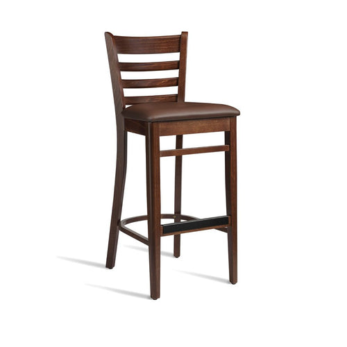 Padded wooden bar stool - PLUS - Tiger Furniture