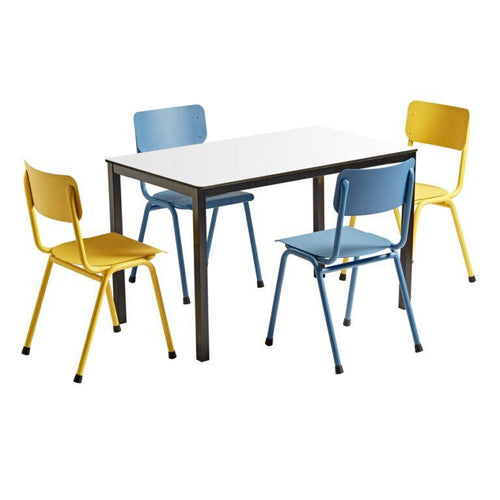 Quin Old School Outdoor Dining Set Blue/Yellow | Tiger Furniture UK