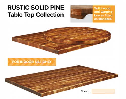 Rustic Solid Pine Table Tops - Commercial Use