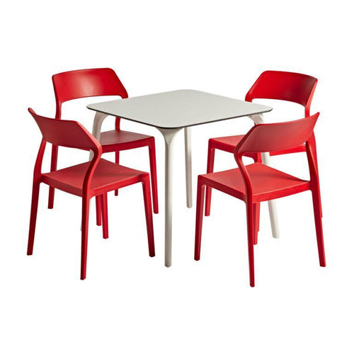 SNOW Red/White Cafe Dining Set | Tiger Furniture UK