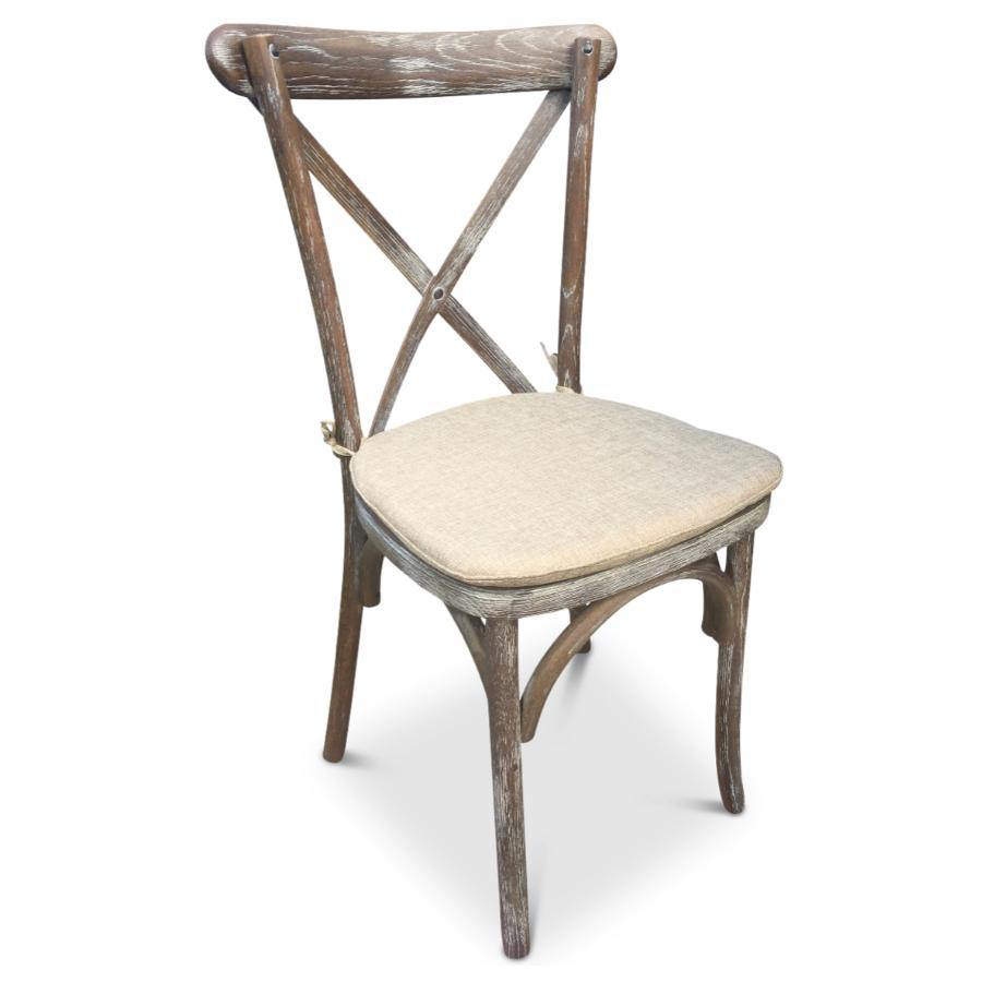 Cross Back Chair - Rustic Style - Lime Oak - Retail Listing - Tiger Furniture