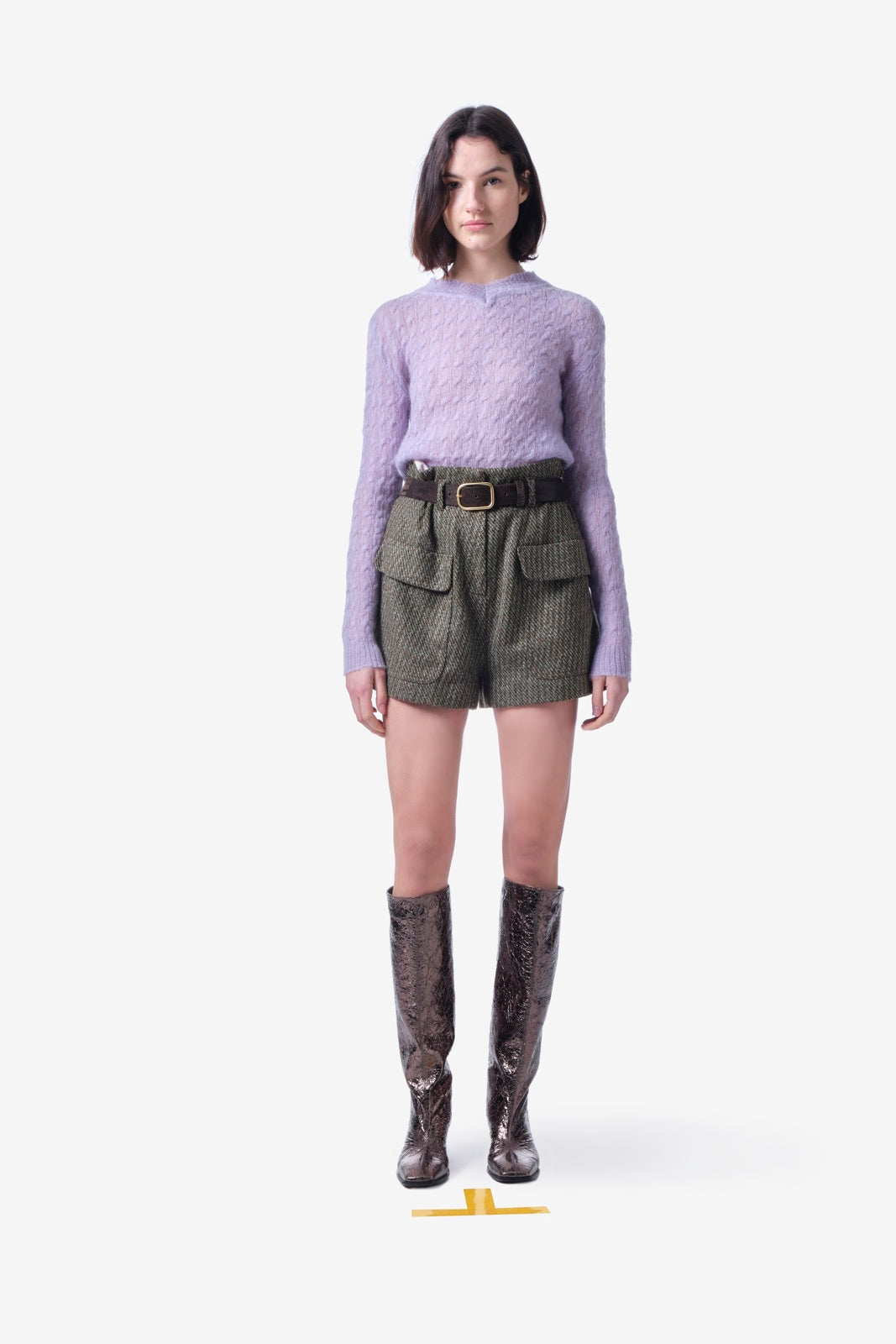 Olive Green Wool Shorts
